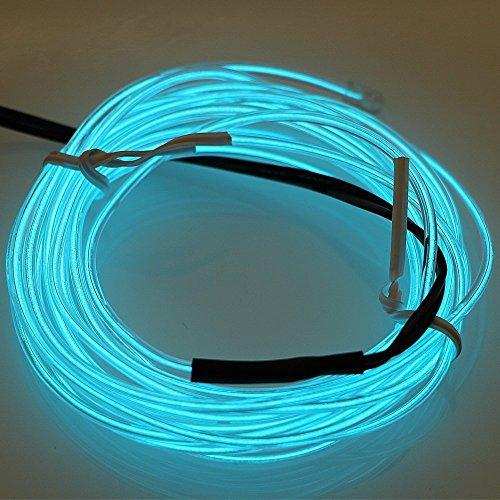 EL-Draht, LanXin 5m / 16.4ft Neonlicht EL Wire Glühender Strobing Elektrolumineszierender Draht LED-Streifen mit Batterie-Satz-Steuerpult für Parteien, Weihnachten, Halloween-Dekoration (Eis blau) (Schnell Und Einfach Gute Halloween Kostüme)