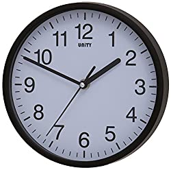 Unity Radcliffe Silent Sweep Wall Clock, Black, 20.3 x 20.3 x 2.5 cm
