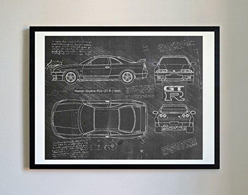 DolanPaperCo 225 Kunstdruck Nissan R33 GTR 1995, da Vinci Sketch, ungerahmt, Verschiedene Größen/Farben 11x14 Blackboard