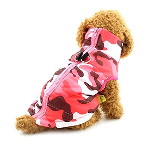smalllee _ Lucky _ store klein Hunde Softgeschirr Weste gepolsterte Jacke Reißverschluss pink camo (Rosa Camo Hund)