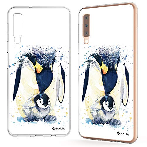 NALIA Handyhülle kompatibel mit Samsung Galaxy A7 2018, Slim Silikon Motiv Etui Case Schutzhülle Dünn Durchsichtig, Handy-Tasche Back-Cover Transparent Bumper, Designs:Pinguin Mutter -