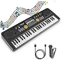 RenFox Piano Keyboard 49 Keys Electric Piano Keyboard Portable Digital Piano Keyboard Music Educational, Rechargeable USB Piano with Microphone Christmas Gift for Beginner Girl Boy