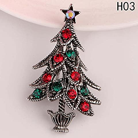 Yiwu Yonger EU Alloy Christmas Tree Brooch Crystal Christmas Brooch Xmas Gift Ornaments Holiday Party Décor (Ananas-kostüm Für Hunde)