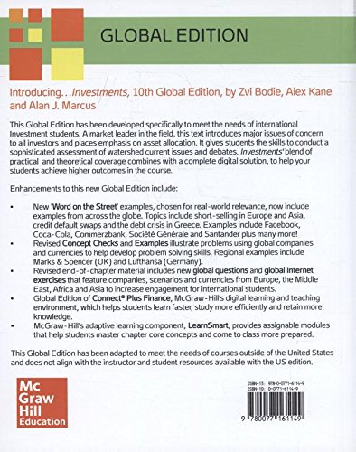 Book's Cover of Investments Global Edition by Bodie, Kane and Marcus