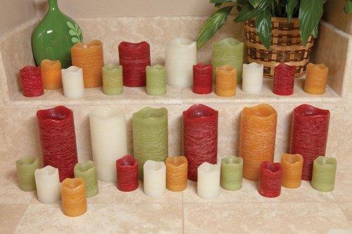 Inglow cgt55400ba83rústico cm de altura sin llama pilar vela, aroma de cítricos y salvia con 5horas temporizador, bambú