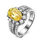 Aooaz Schmuck Damen-Ring 925 Sterling Silber 9x7mm Citrin Zirkonia Ovalschliff Verlobungsringe Silber Gr.59 (18.8)