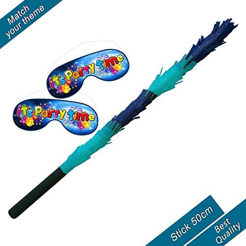 blaue Mischung Pinata Stick und Augenbinde