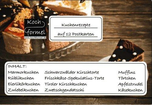 """Komplett-Set""""Kuchenrezepte auf 12 Rezept-Postkarten"""""""
