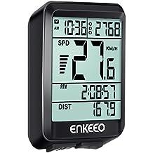 ENKEEO Computer da Bicicletta Wired, Contachilometri con 3 Modalità di Velocità Corrente/Media/Massima Display Multifunzione, Attivarsi Automatico, Reale Velocità su Pista
