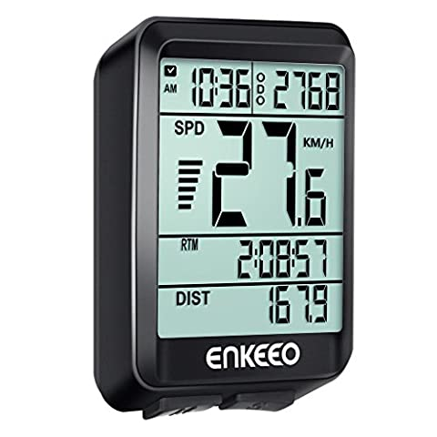Enkeeo Wired Bike Computer with Current/AVG/MAX Speed Tracking Speedometer ,