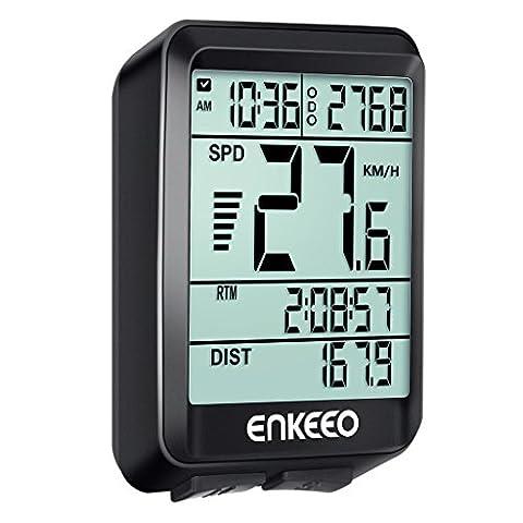Enkeeo Ordinateur Compteur de Véloavez Actuelle / Moyenne / Maximale vitesse Speed Tracking Speedometer, Temps de Voyage / Distance pour le