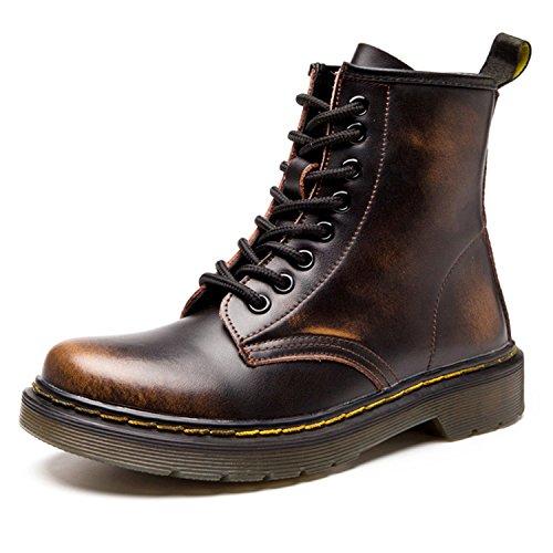 Damen Martin Stiefel Derby Wasserdicht Kurz Stiefeletten Winter Herren Worker Boots Profilsohle Schnürschuhe Schlupfstiefel,Warm gefüttert/Braun 37 EU