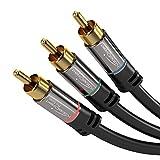 KabelDirekt 1m Komponentenkabel, 3x Cinch-Stecker > 3x Cinch-Stecker, FullHD 1080i – PRO Series