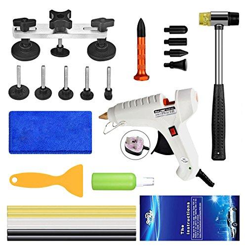 FLY5D Auto-Reparatur-Set, Paintless Ausbeultechnik Abzieher Werkzeug PDR-Kits zieher Werkzeug Klebepistole (23-teilig)