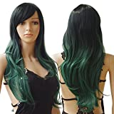 """S-noilite® 28""""/70CM Women's Long Full Head Wigs Natural Curly Wavy Hair Ombre Dark Roots Heat Resistant Synthetic Wig (27.5"""" Curly, Black to Turquoise Green)"""
