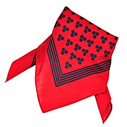 Red With Navy Blue 3-Dot & Stripes Bandana Neckerchief by Ties Planet