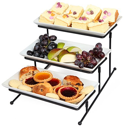 Kenley 3Etagen Serviertablett Etagere-three-tiered Kuchen Cupcake Vorspeise Dessert Fruit Finger Food Display Platte Server Teller für Partys-Steady verzinktem Metall Rahmen Rack 3-tier-dessert-server