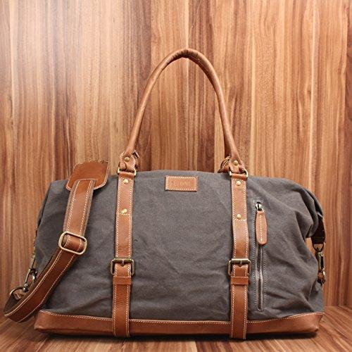 LECONI Weekender groß Canvas Echtleder Retro Reisetasche Unisex Damen Herren Sporttasche Handgepäck 60x38x25cm LE2010-C Grau / Braun