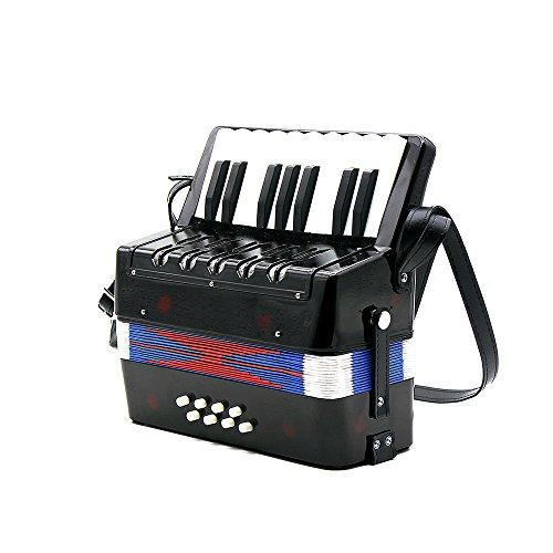 Andoer ® Kinder 17-Schlüssel, klein, 8-Bass Akkordeon Educational-Bildung Musikinstrumente-Rhythmus-Band schwarz
