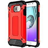 Skitic Etui Housse Coque Anti Choc pour Samsung Galaxy A3 2016 (SM-A310F), 2 en 1 Hybride Armour Case TPU + PC Incassable Back Cover Rigide Coque de Protection pour Samsung Galaxy A3 2016 Smartphone - Rouge