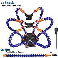 LITEBEE Flexibel Helfende Hände, Loeten Dritte Hand löthilfe, Lötstation Werkzeug (Flexible 7 Arme Helfende Hände, 360 Grad schwenkbare Clips, bürstenlosen DC-Ventilator) Schwarz