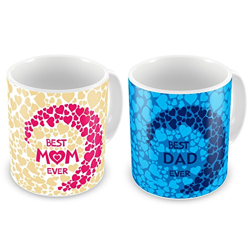 Indibni Best Mom Dad Ever Coffee Mug Set Of 2 330Ml Brown Pink & Blue Ceramic - Gift For Mother Father Mom Dad On Anniversary  available at amazon for Rs.549