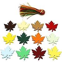 120 etiquetas de arce, hojas de arce, etiquetas de papel con 120 cintas de colores para regalos de Navidad y Acción de Gracias (12 colores)