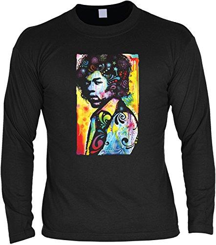Basic Shirt Langarm, Longsleeve, Pulli mit bunten Hendrix Portrait! Flower Power Feeling! (Halloween-portraits)