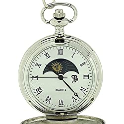BOXX Silver Sun and Moon Pocket Watch 12