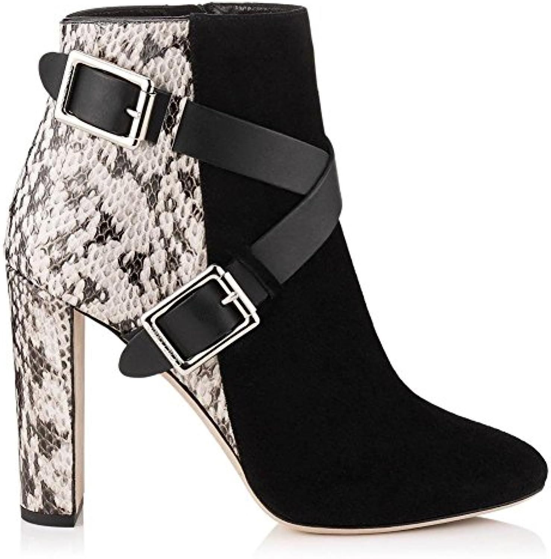 GAIHU Femmes Bottes Femmes Chaussures de talon talon talon rugueux Cuir Daim noir fait Couture bouton métal bretelles croisées...B07D6B8CRGParent 741076