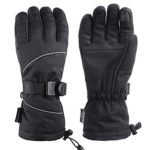 Unigear Guantes De Esquí Impermeable Calientes Nieve Snowboard Pantallas Táctiles Anti-Viento Guantes para Esquiar Deportes Invierno Hombre Mujer (Negro, L)
