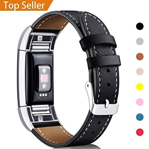 """Mornex Kompatibel Fitbit Charge 2 Armband, Echte Leder Armbänder, Unisex Ersatzband mit Metall Konnektoren(5,5\""""-8,1\""""), Schwarz"""
