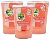 3Recambios de jabón líquido para las manos Dettol No Touch - Antibacteriano - Fragancia Pomelo - 250ml - Mata el 99,9% de las bacterias