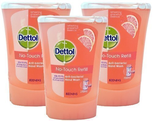 3x Dettol No Touch Refill Anti Bacterial Hand Wash Kills 99.9% Bacteria 250ml (3x Hydrating Cucumber Splash) by Dettol