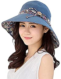 Gemini_mall® Womens Sun Hat Summer Reversible UPF 50+ Beach Hat Foldable Wide Brim Cap Packable