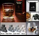 9 Stück Whisky Steine Drink Kühler on The Rocks Granit - Farben: Schwarz, Granit Hell, Granit Dunkel, Weiß - Dunkler Granit