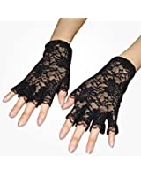 TRIXES Short Burlesque French Maid Fingerless Lace Costume Gloves