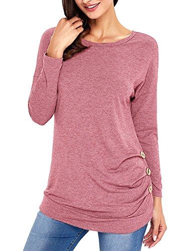 Langarm Tops Damen, DSUK O Ausschnitt Solide Farbe Tunika Kleider Mode Arbeits T Shirt Oberteile Komfortable Baggy Hemd Blusenkleid Winter Herbst Sport Outdoor Freizeit Sweatshirt Blusen Rosa Pink L