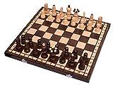 Amazinggirl Schach 43cm großes Schachbrett mit Figuren hochwertiges Schachspiel aus Holz klasssich handgefertigt für Kinder Profi Senioren klappbar