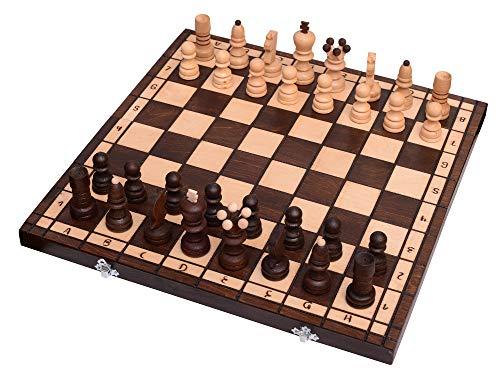 Amazinggirl Schachspiel Holz Schachbrett Handgefertigt mit Schachfiguren für Kinder Schach Chess klappbar Antik 42x42CM