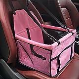 Siège d'appoint de voiture pour le chien, HomeYoo Housse de transport pour animal domestique avec ceinture de sécurité - Sac étanche, tapis de coussin de voiture pour chien et chat (Rose)