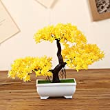 LOF-fei Künstliche Pflanzen Topfpflanzen Dekoration Büro Esstisch Zubehör,gelbes Quadrat Keramik Blumentöpfe
