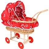 edler großer Nostalgie Puppenwagen Korb Korbgeflecht rot mit Himmel