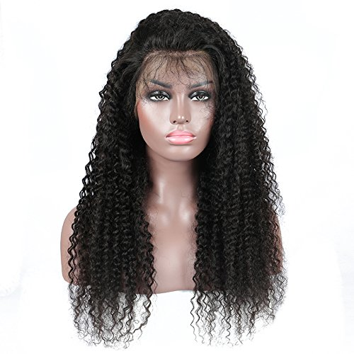 Ugeat 16 Zoll Natural Black Wig for Black Women Density 130% Kinky Curly Brasilianisch Perucke Echthaar mit Baby Haare (Brasilianische Karnevals Masken)