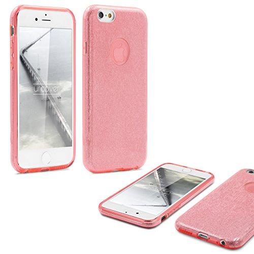 URCOVER Coque Back Case Brillant Glittery Diamant pour Apple iPhone 6 / 6s   Étui en Silicone TPU Souple et Douce en Or   Housse avec Strass Scintillantes et Pailletté Fuchsia