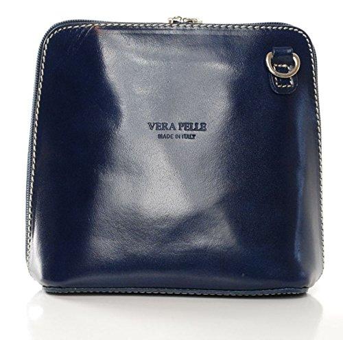 Vera Pelle Bag - Classica borsa da donna, a tracolla donna Blu