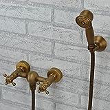 Rétro Deluxe Faucetinging antique Baignoire Douche Robinet dans le mur classique en cuivre Baignoire plein de chaud et froid Mitigeur de douche avec poignée de douche, jaune