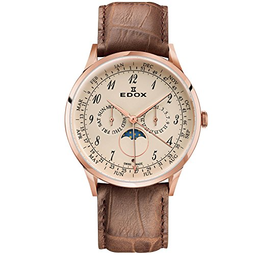 Edox Men's Les Vauberts 44mm Brown Leather Band Quartz Watch 40101 37RC BEBR