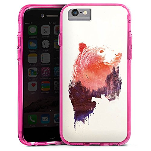 Apple iPhone 7 Bumper Hülle Bumper Case Glitzer Hülle Baer Bear Natur Bumper Case transparent pink