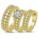 Lilu Jewels Bague de Mariage en plaqué Or Jaune 14 carats pour Homme et Femme